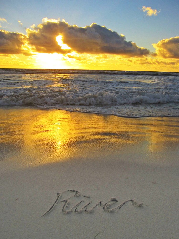 Rvier's name in the sand